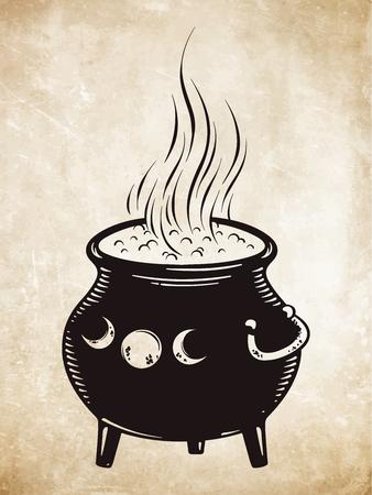 茹でている魔法のコルドロンベクトルイラスト。手描きウィッカデザイン。