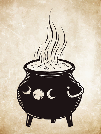 Boiling magic cauldron vector illustration. Hand drawn wiccan design. Иллюстрация
