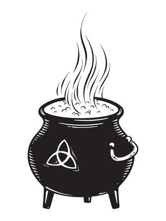 Boiling magic cauldron vector illustration. Hand drawn wiccan design, astrology, alchemy, magic symbol or halloween design.
