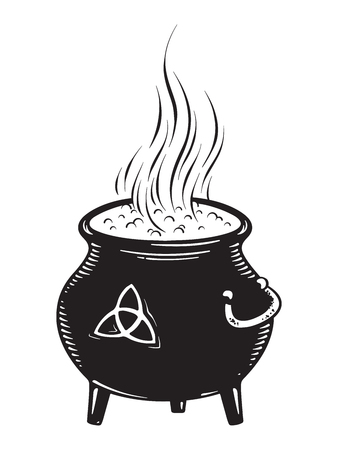 Boiling magic cauldron vector illustration. Hand drawn wiccan design, astrology, alchemy, magic symbol or halloween design.