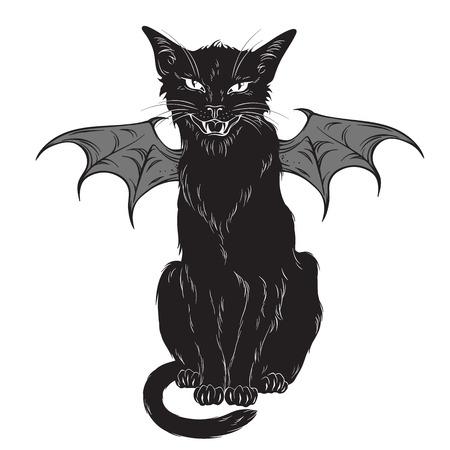 Creepy gatto nero con ali del mostro isolato su sfondo bianco. Spirito familiare di Wiccan, illustrazione vettoriale di disegno di tema del witchcraft di Halloween o pagano