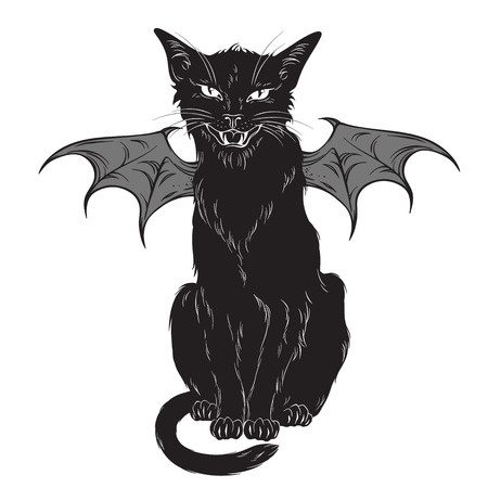 Creepy black cat with monster wings isolated over white background. Wiccan familiar spirit, halloween or pagan witchcraft theme print design vector illustration Illustration