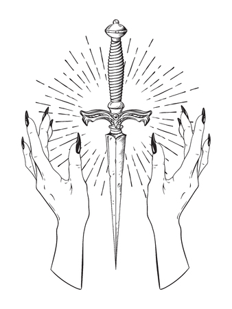 Ritual dagger in female hands with rays of light isolated on white background hand drawn vector illustration. Black work, flash tattoo or print design.