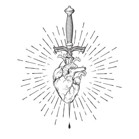 Human heart pierced with ritual dagger