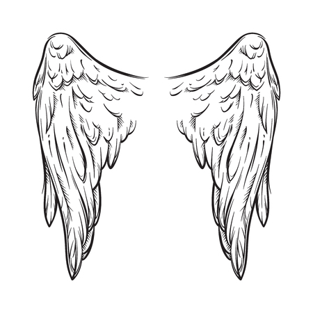 Angel wings isolated on white background hand drawn vector illustration. Black work, flash tattoo or print design.