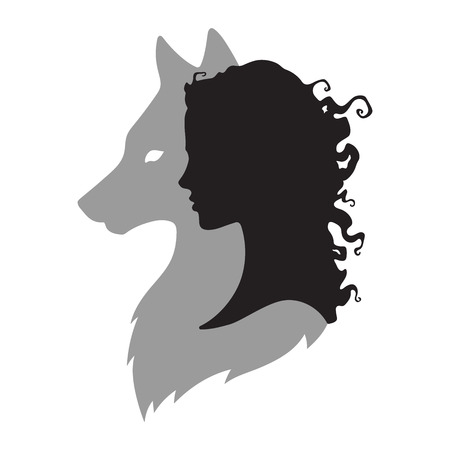 Silhouette of beautiful woman with shadow of wolf isolated. Sticker, print or tattoo design vector illustration. Pagan totem, wiccan familiar spirit art. Vettoriali