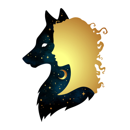 Silhouette of beautiful woman with shadow of wolf with crescent moon and stars isolated. Sticker, print or tattoo design vector illustration. Pagan totem, wiccan familiar spirit art.