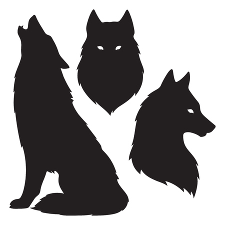 Set of wolf silhouettes isolated. Sticker, print or tattoo design vector illustration. Pagan totem, wiccan familiar spirit art.