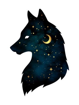 Schattenbild des Wolfs mit dem sichelförmigen Mond und den Sternen getrennt. Vektorgrafik