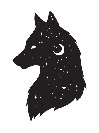 Silhouette of wolf with crescent moon and stars isolated.