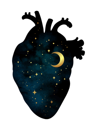 Silueta del corazón humano con universo dentro. Luna y estrellas. Etiqueta, impresión o diseño de tatuaje ilustración vectorial aislado