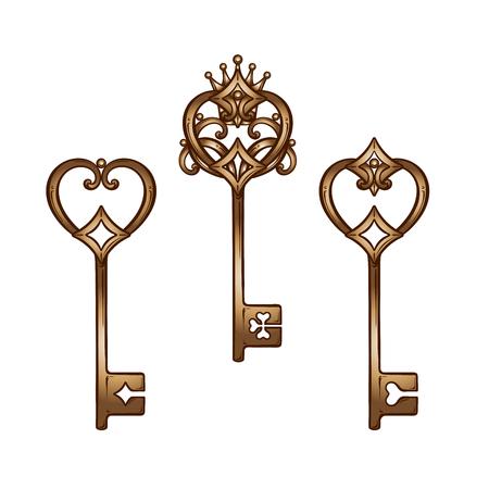 Vintage heart shaped bronze antique skeleton keys set. Hand drawn isolated vector illustration.