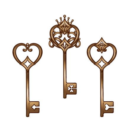 Vintage heart shaped bronze antique skeleton keys set. Hand drawn isolated vector illustration.