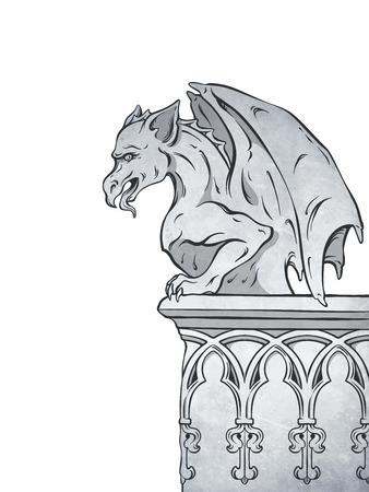 Illustrazione disegnata a mano di vettore dell'elemento di progettazione del gargoyle gotico. Archivio Fotografico - 89979364