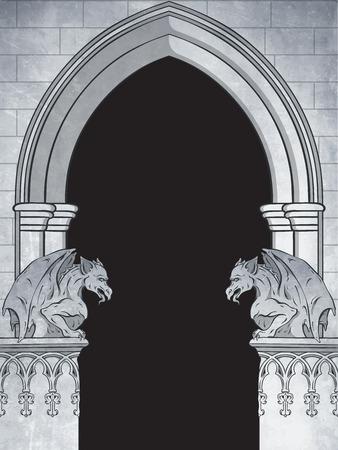 Arco gótico con gárgolas ilustración de vector dibujado a mano. Marco o diseño de impresión. Ilustración de vector