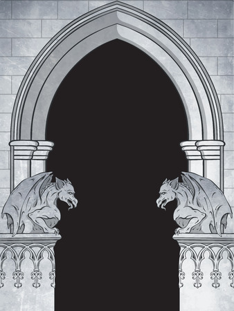 Gothic arch with gargoyles hand drawn vector illustration. Frame or print design. Reklamní fotografie - 89979366