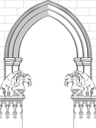 Gotischer Bogen mit gezeichneter Vektorillustration der Wasserspeier Hand. Rahmen- oder Druckdesign.