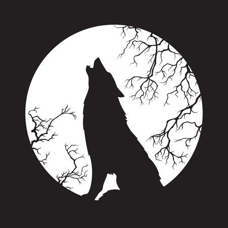 Silhouette de loup hurlant à l'illustration vectorielle de la pleine lune. Totem païen, art spirituel wiccan familier. Vecteurs