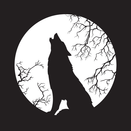 Silhouette of wolf howling at the full moon vector illustration. Pagan totem, wiccan familiar spirit art. Zdjęcie Seryjne - 90944829