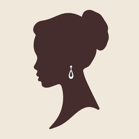 Silhouette of beautiful elegant african woman in profile isolated vector illustration. Beauty salon or jewelry product logo design.