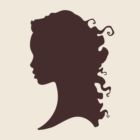 Silhouette of beautiful curly african woman in profile isolated vector illustration. Beauty salon or hair product logo design.