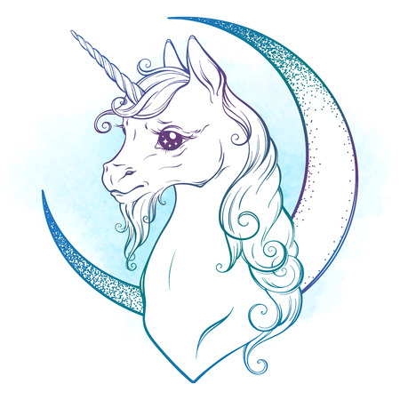 Little unicorn and crescent moon in pastel colors isolated. Sticker, print or tattoo design vector illustration. Illustration