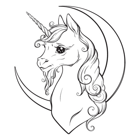 Little unicorn and crescent moon isolated vector illustration. Coloring book pages for adults and kids.