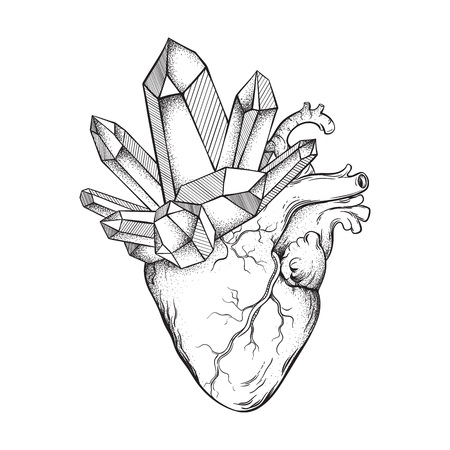 Crystals growing from human heart isolated on white background. Hand drawn line art and dot work vector illustration. Black work, flash tattoo or print design.