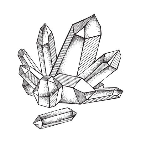 Crystals druse isolated on white background hand drawn line art and dot work vector illustration. Black work, flash tattoo or print design.