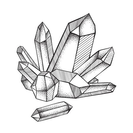 Kristalle druse lokalisiert auf weißer gezeichneter Linie Kunst des Hintergrundes Hand und Punkt arbeiten Vektorillustration. Schwarze Arbeit, Flash-Tattoo oder Print-Design.