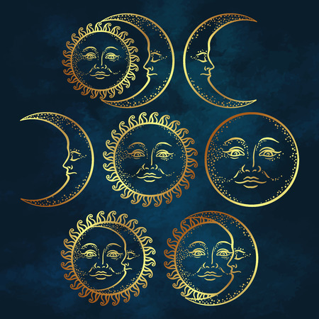 Boho chic flash tattoo design hand drawn art gold sun and crescent moon set. Antique style design vector illustration.