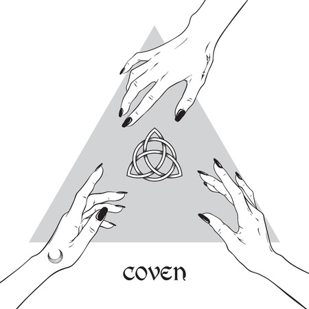 Hands of three witches reaching out to the pagan symbol triquetra.