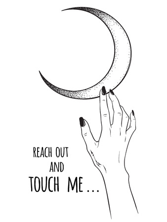 Female hand reaching out to the moon isolated vector illustration. Black work, dot work, line art, flash tattoo, poster or print design.