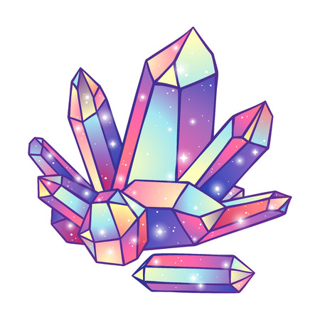 Crystal  isolated on white pattern hand drawn illustration. 向量圖像