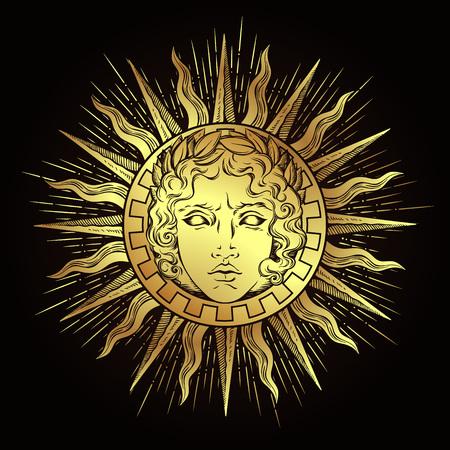 Soleil de style antique dessiné à la main avec le visage du dieu grec et romain Apollo.