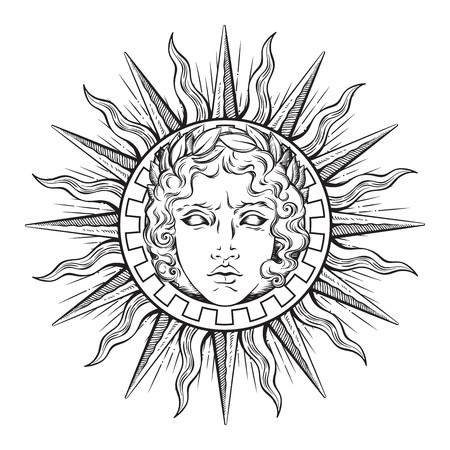 Hand drawn antique style sun with face of the greek and roman god Apollo.