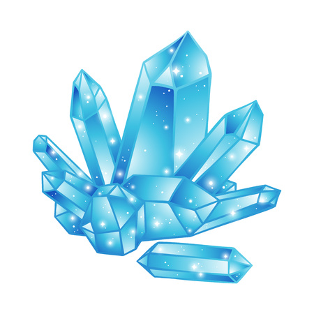 Blue crystals druse isolated on white background hand drawn vector illustration. Patch, sticker or print design.