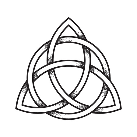 Triquetra or Trinity knot. Hand drawn dot work ancient pagan symbol of eternity and trinity isolated vector illustration. Black work, flash tattoo or print design. Vettoriali