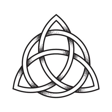 Triquetra of Trinity knoop. Hand getrokken dot werk oude heidense symbool van eeuwigheid en drie-eenheid geïsoleerde vectorillustratie. Zwart werk, flash tattoo of printontwerp.