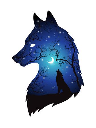 Doppelbelichtungsschattenbild des Wolfs im Nachtwald, blauer Himmel mit dem sichelförmigen Mond und Sternen lokalisiert. Aufkleber-, Druck- oder Tätowierungsdesignvektorillustration. Heidnisches Totem, wiccan vertraute Geistkunst.