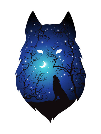 Double exposure silhouette of wolf in the night forest, blue sky with crescent moon and stars isolated. Sticker, print or tattoo design vector illustration. Pagan totem, wiccan familiar spirit art. Çizim
