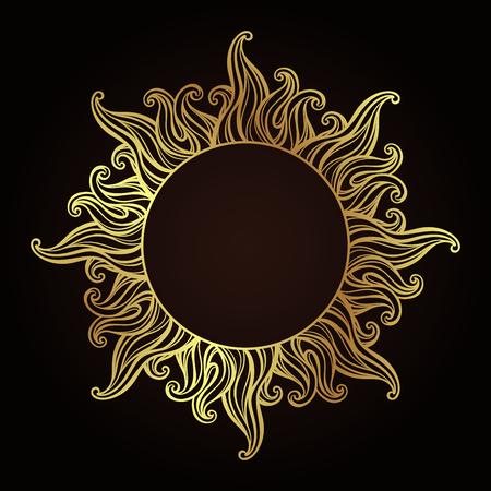 Het overladen antieke gouden frame van de etsstijl in een vorm van zonstralen overhandigt getrokken vectorillustratie.