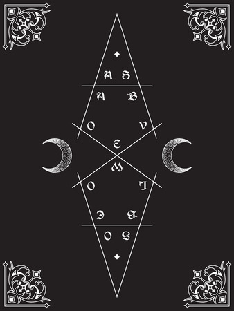 As above, so below. Sacred geometry, waxing and waning crescents. Inscription is a maxim in hermeticism and sacred geometry. Tattoo, poster or Shadow Book cover design vector ilustration.