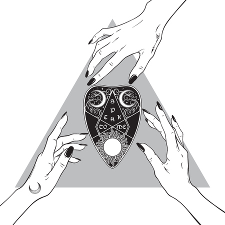 Hands of three witches reaching out to the board mystifying planchette. Black work, tattoo, poster art or print design hand drawn vector illustration.