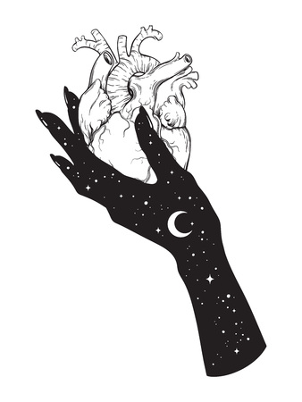Human heart in hand of universe. Sticker, print or blackwork tattoo hand drawn vector illustration.