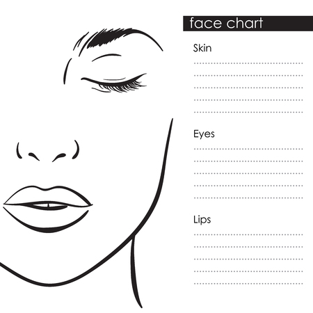 Beautiful woman portrait. Face chart Makeup Artist Blank Template. Vector illustration Çizim
