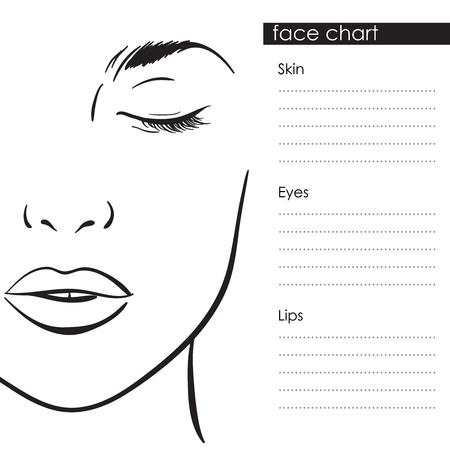 Beautiful woman portrait. Face chart Makeup Artist Blank Template. Vector illustration Stock Illustratie