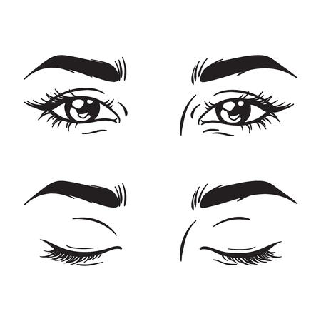 Isolated black and white beautiful female eyes set open and closed. Makeup blank template vector illustration Ilustração