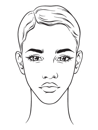 Beautiful African American woman with short haircut portrait isolated on white background. Face chart makeup artist blank template vector illustration.