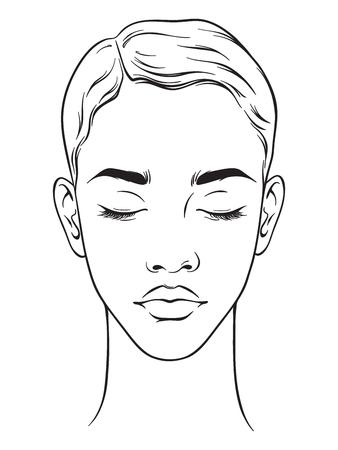 Mooie Afrikaanse Amerikaanse vrouw met kort kapsel en gesloten ogenportret dat op witte achtergrond wordt geïsoleerd. Gezicht grafiek make-up artiest lege sjabloon. Vector illustratie